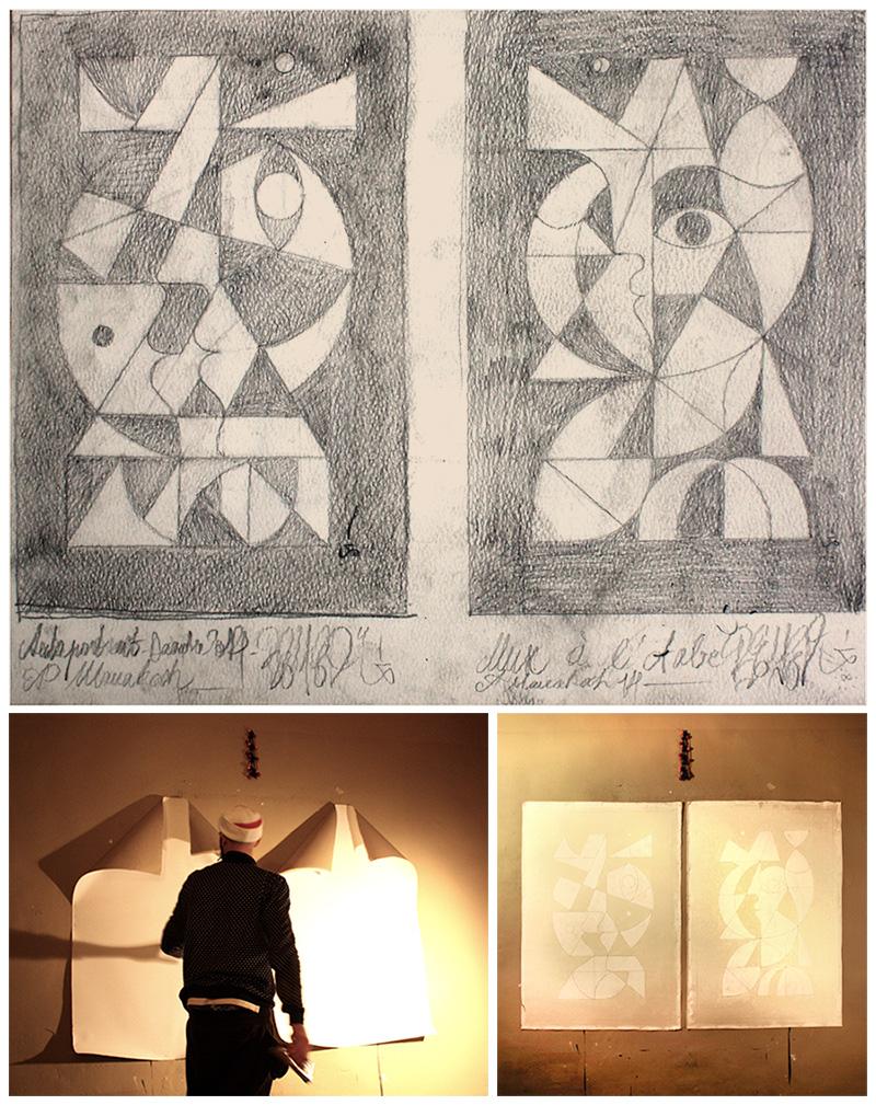 Work in progress for LE PEINTRE & LA MUSE. Acrylic sur toile.
