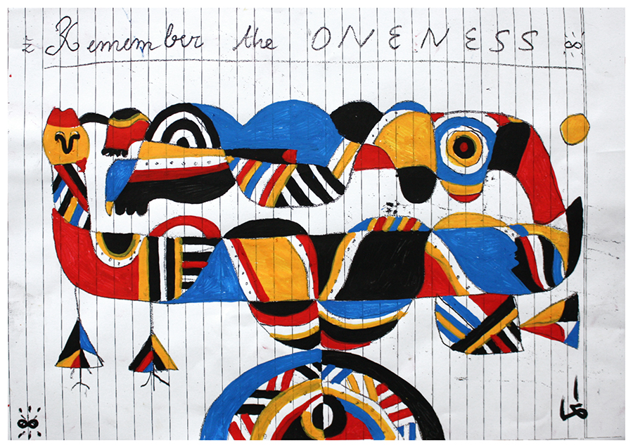 REMEMBER THE ONENESS. Inspired by aboriginal ainting of Ngalyod. Gouache on paper.